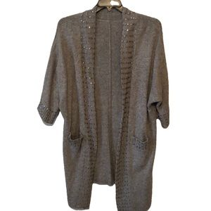 Gray cardigan sweater with sequins